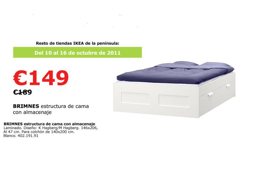 Habitambientes compras ikea oferta brimnes estructura for Ofertas camas ikea