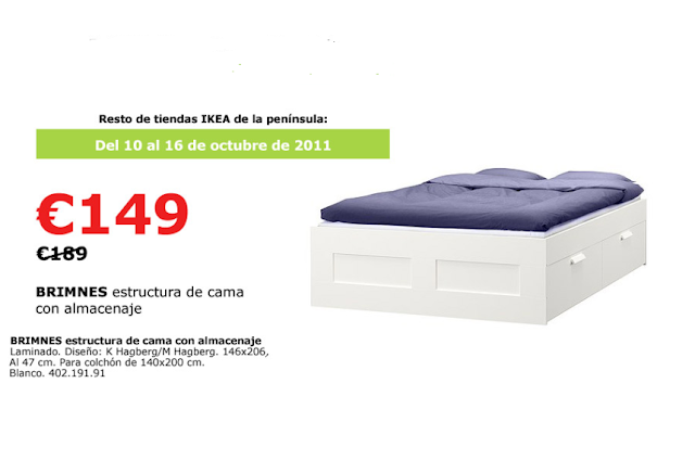 Habitambientes compras ikea oferta brimnes estructura for Estructura de cama alta ikea