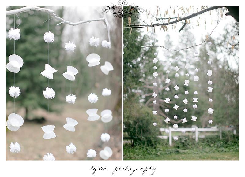 wedding decor using paper pompoms