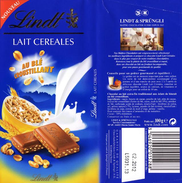tablette de chocolat lait gourmand lindt lait céréales