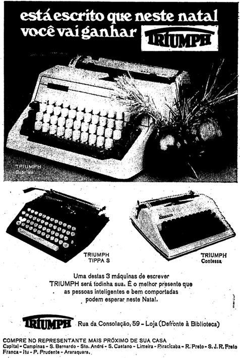 Propaganda das Máquinas de Escrever Triumph veiculada em 1970 como sugestão de presentes para o Natal.