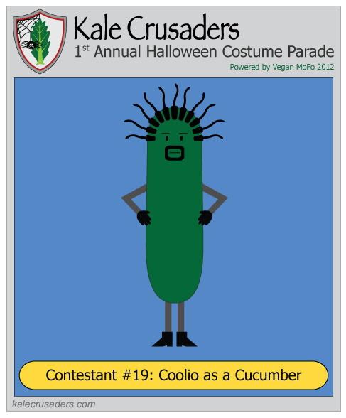 Contestant #19: Coolio as a Cucumber, Kale Crusaders 1st Annual Halloween Costume Parade, Powered by Vegan MoFo 2012