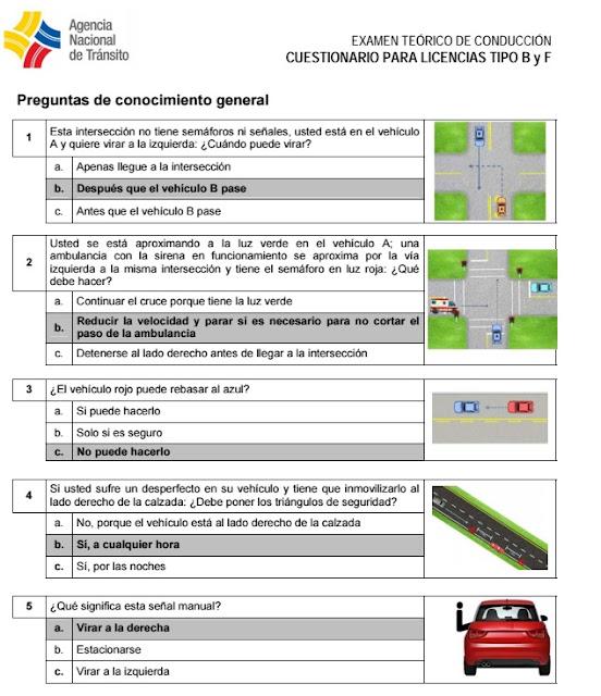preguntas licencia conducir tipo B