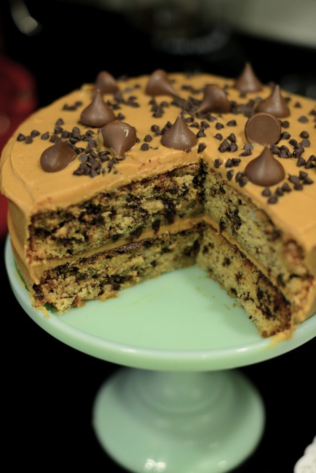 banana chocolate chip cake with peanut butter frosting from bon ...