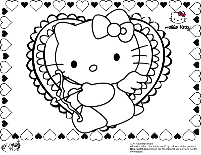 hello kitty with valentine heart coloring pages - Kitty Coloring Pages