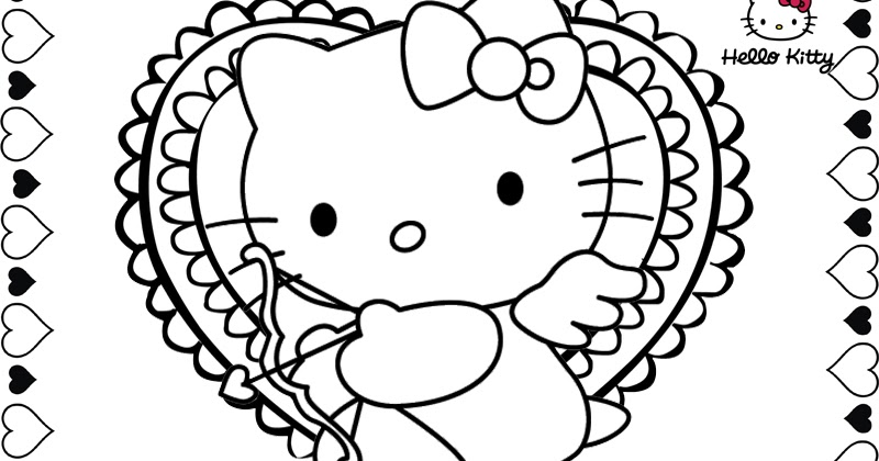 Hello Kitty Valentine Coloring Pages