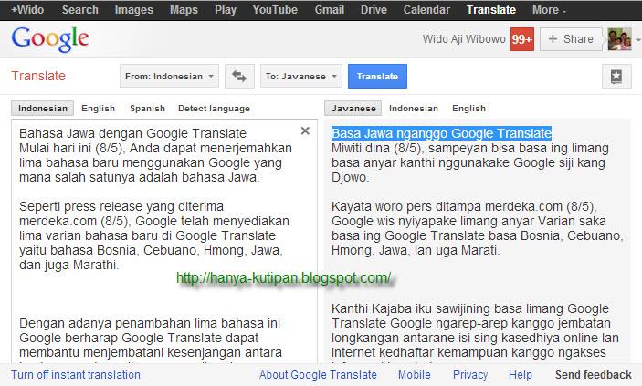 Bahasa Jawa dengan Google Translate - Dari sawah menuju ke ...