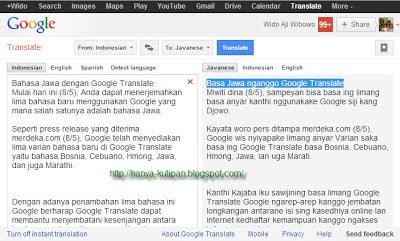 Bahasa Jawa dengan Google Translate