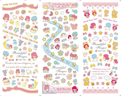 SET 3 DESIGNS IN 1 sheets little twin stars hello kitty HOT 097 Hot 098 hot 099 Water decal Nail