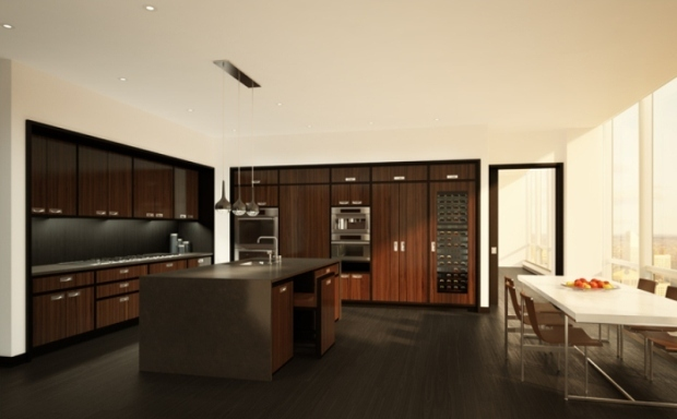 Rendering of one of the apartments in One 57 by Christian de Portzamparc, kitchen