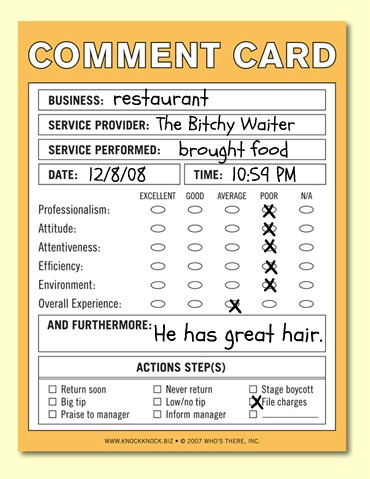 The Bitchy Waiter A Comment On Comments