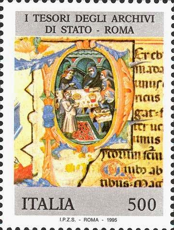 Francobollo con soggetto tratto dal Liber regulae dell'Archivio di Stato di Roma