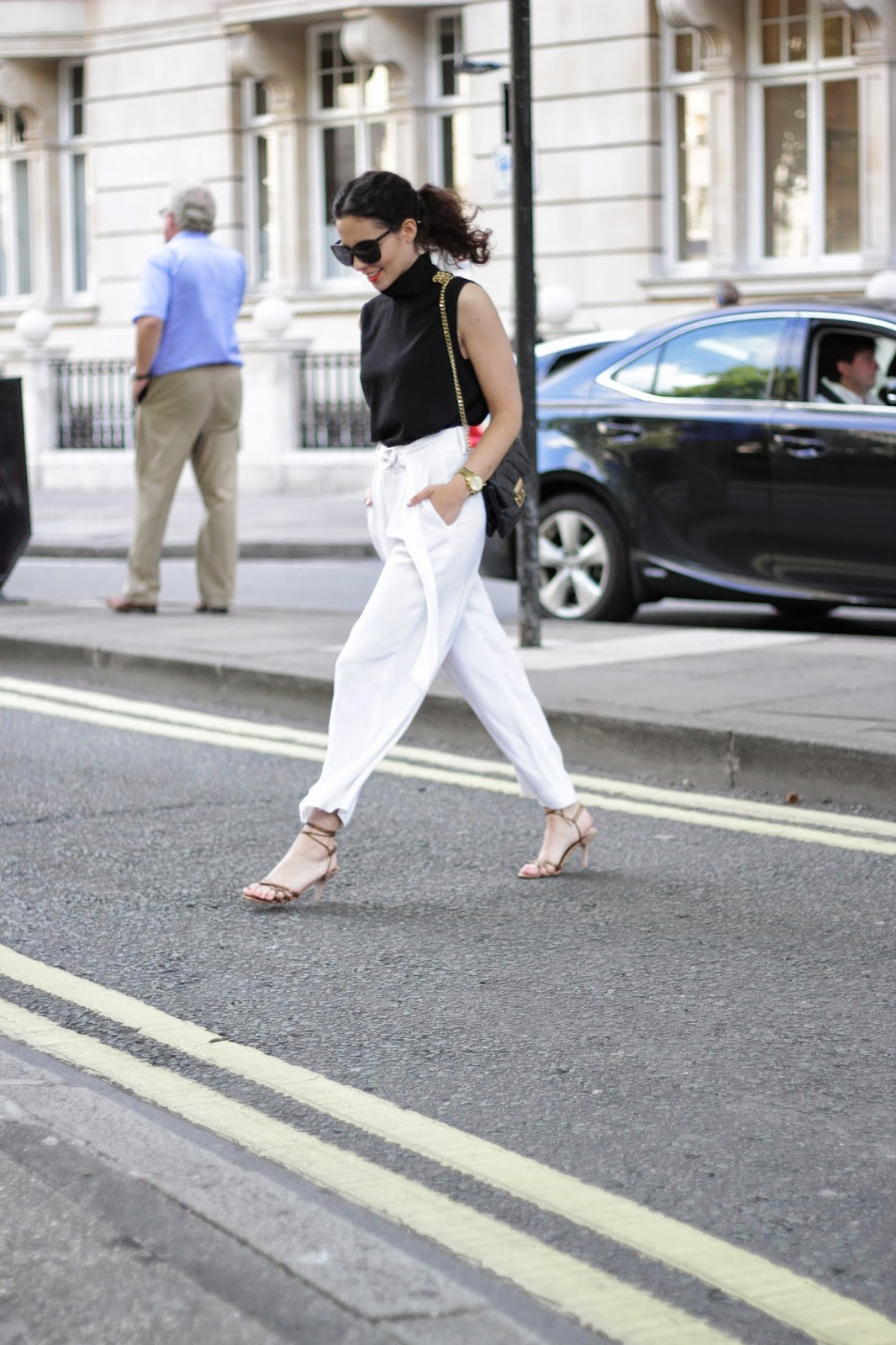 monochrome outfit, black and white outfit, palazzo pants, white pants, culottes pants