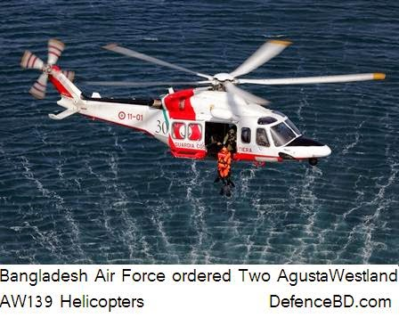 Bangladesh Air  Force has ordered two AW 139 Search and Rescue (SAR) Helicopter