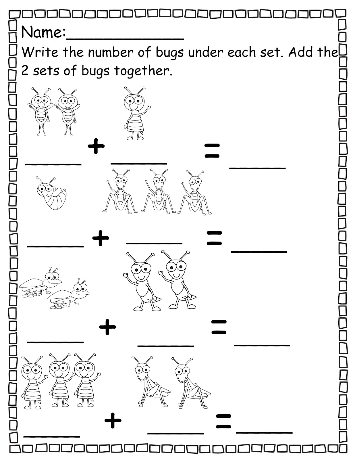 Free printable pre k math worksheets