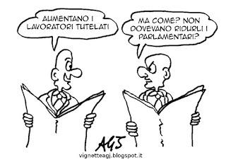 jobsact, lavoro, taglio di parlamentari, satira, vignetta