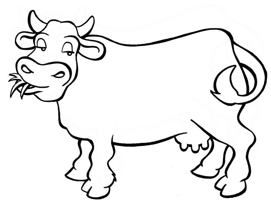 a desenhar Vaca felis sorrindo para copiar colorir