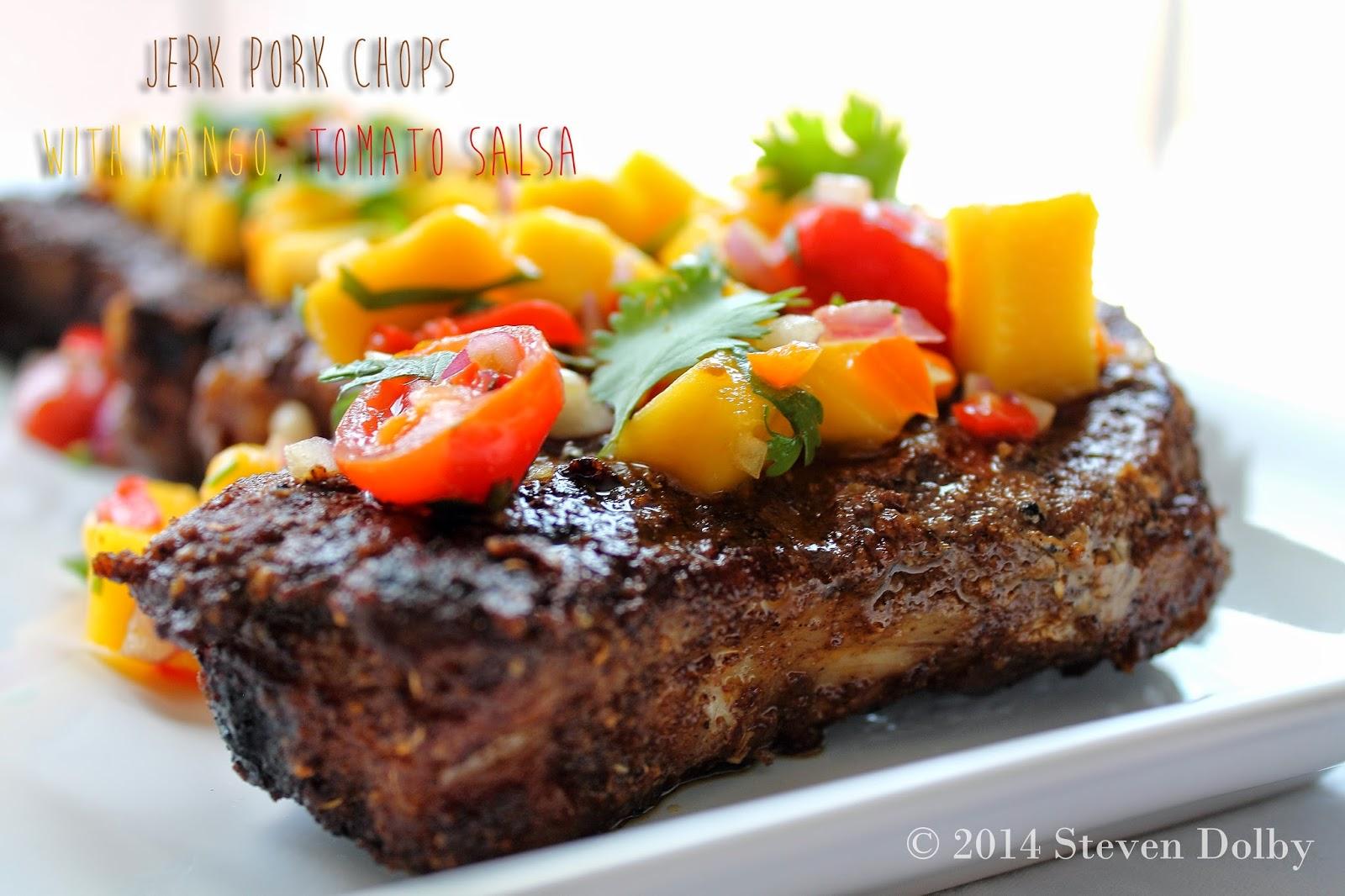 Grilled Jerk Pork Chops with Mango Tomato Salsa by Steven ...