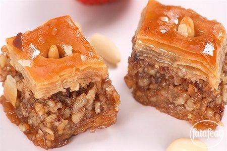 Baklava with walnuts, almonds and hazelnuts