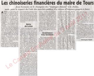 Les chinoiseries financières du maire de Tours Canard Enchaîné Jean Germain Lise Han mariages chinois
