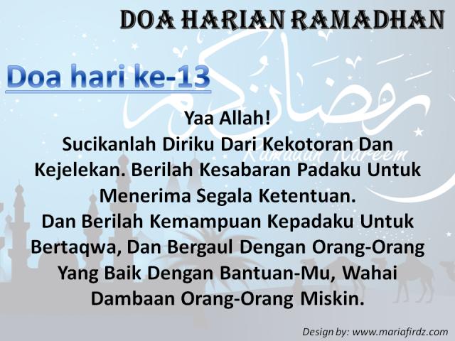 Doa Harian Bulan Ramadhan | Doa Hari Ke-13