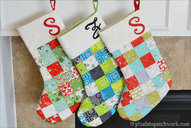From Pixels To Patchwork TGIFF Quilted Christmas Stockings Interesting Quilted Christmas Stocking Pattern