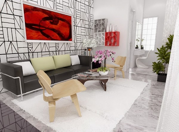 Foto Ruang Tamu Sempit Minimalis Kombinasi Warna Aksen