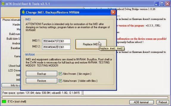 Write IMEI MTK6582 dengan MTK Droid Tools