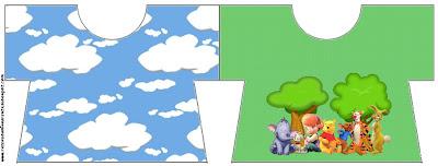 tarjeta imprimible gratis de Winnie de Pooh y sus amigos con forma de camisa