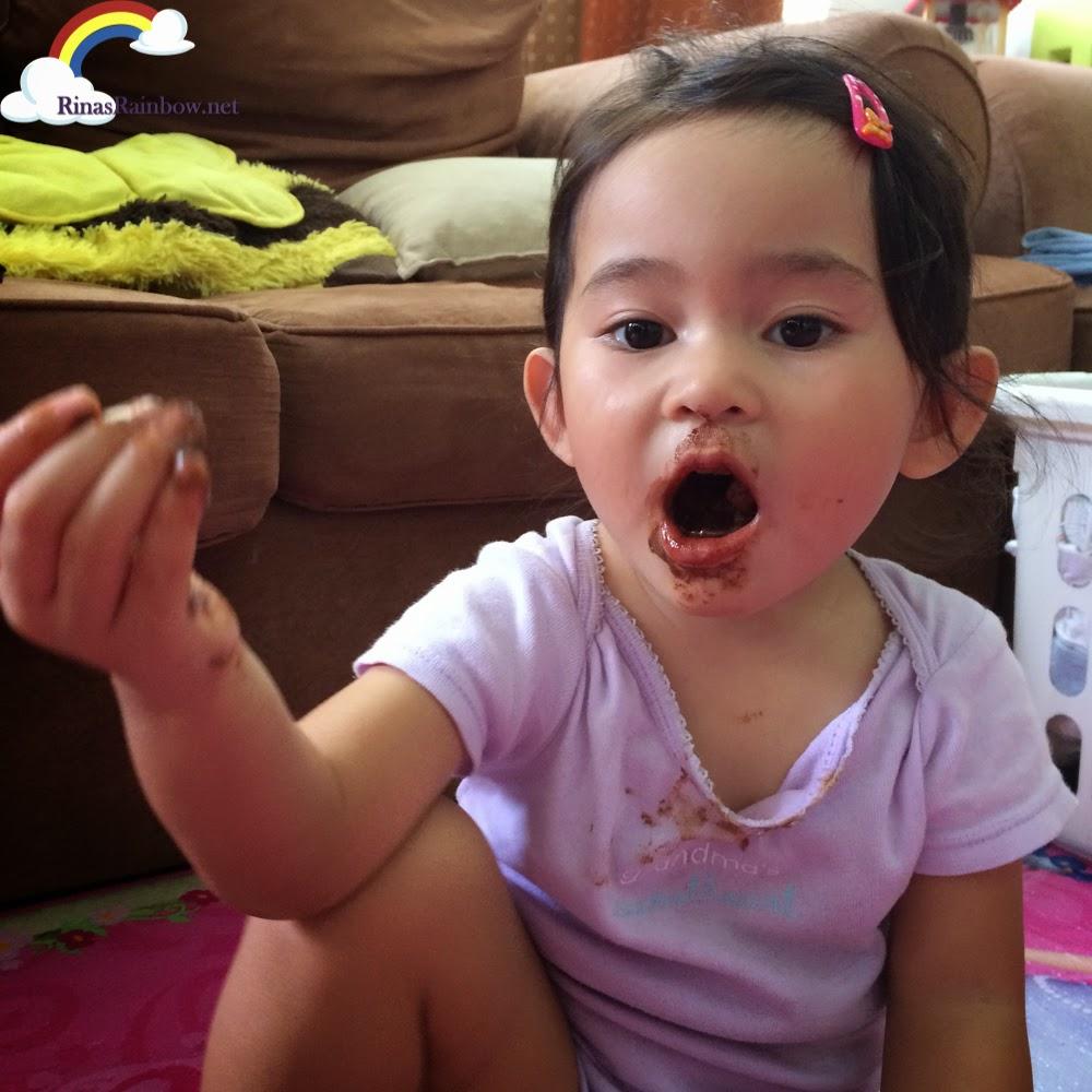 toddler eating chocolates