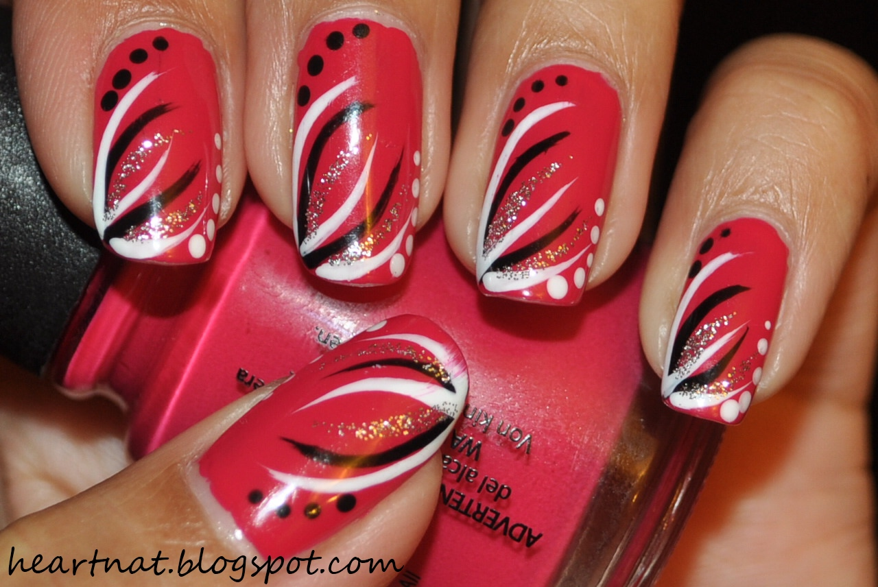 French Nail Art Simple Freehand Nail Art