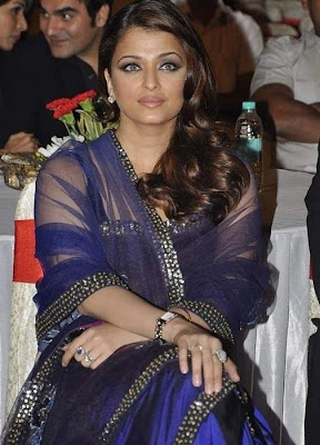 Hot Blue Transparent Saree Pics Aishwarya Rai The Event