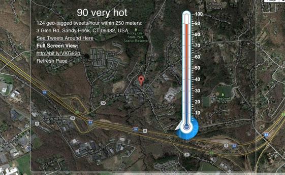Sandy Hook geo-tagged tweeting measure during Obama's speech on December 16