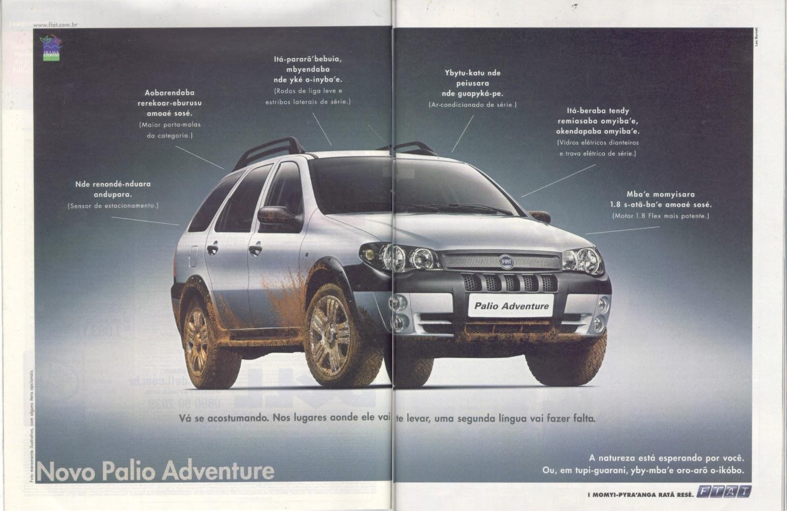 Propaganda Do Fiat Palio Adventure Em Tupi Antigo Abanheenga