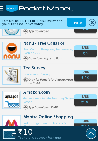pocket app ,Get Rs 10 free recharge for completing a Tea Survey at Pokkt App