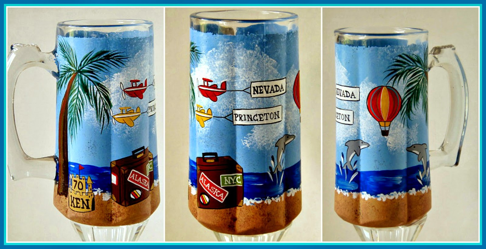 Custom Painted Traveler Birthday Stein from kudoskitchenbyrenee.com