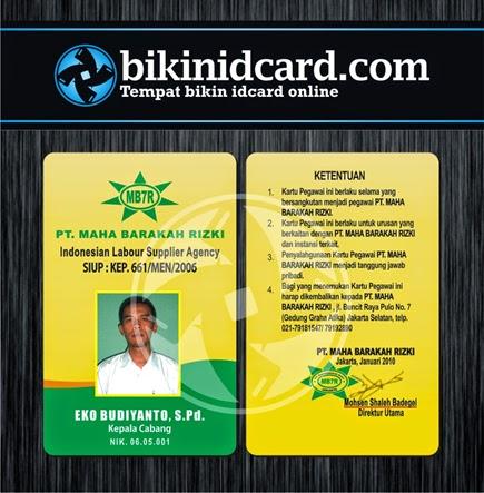 cetak id card pegawai pt