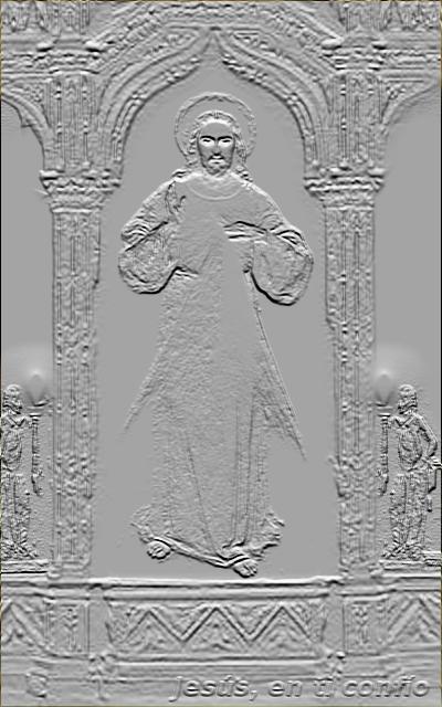 grabado en forma de piedra de jesus misericordioso