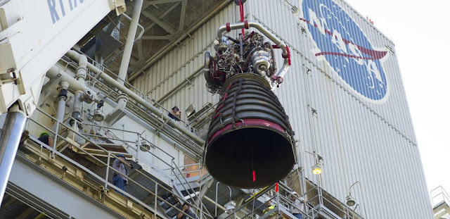 NASA took the next big step on its Journey to Mars on Nov. 4 by placing the first RS-25 flight engine, engine No. 2059, on the A-1 Test Stand at Stennis Space Center. Credit: NASA
