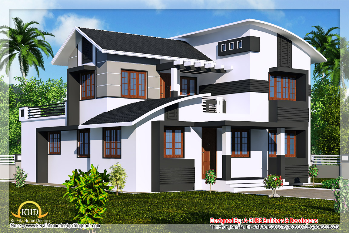 Duplex villa elevation 2218 sq ft kerala home design for House architecture styles in india