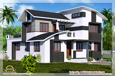 Duplex Villa Elevation   2218 Sq  Ft   Kerala home design and