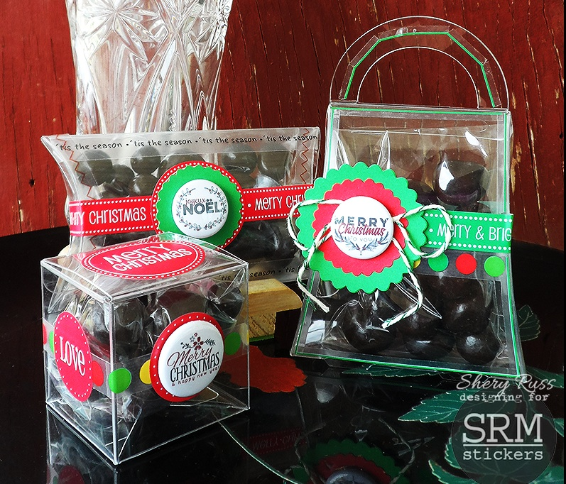 SRM Stickers Blog - Bossy Joscie Christmas Containers - #flair #bossyjoscie #clearpurse #pillowbox #clearbox #shimmertwine #stickers #borders