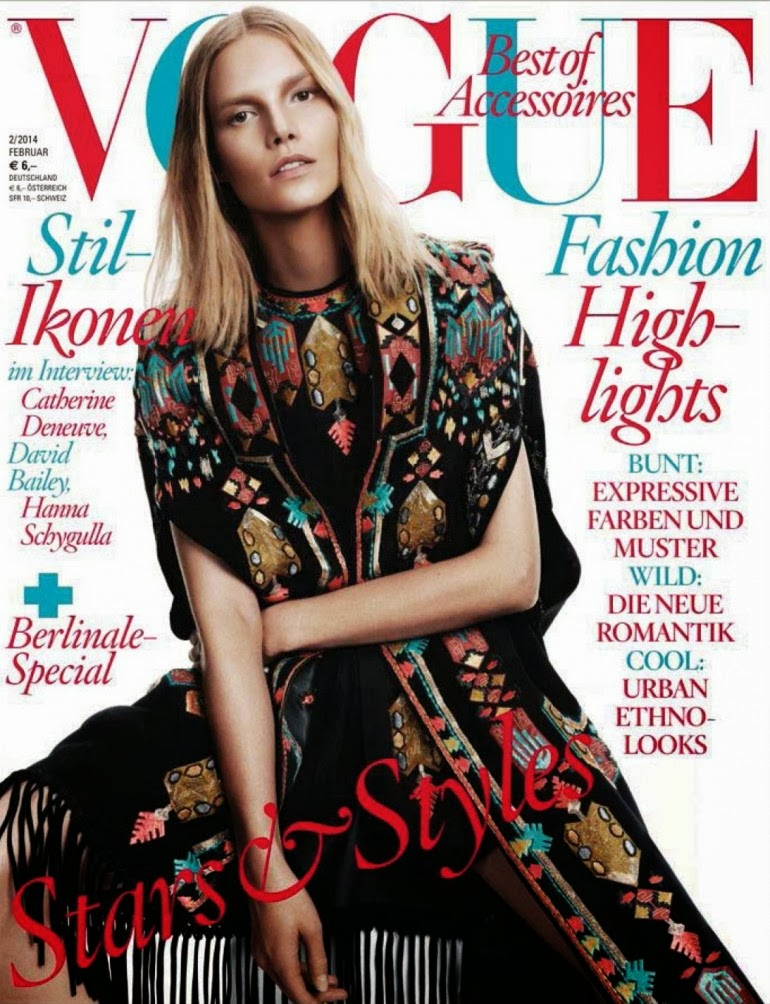Magazine Cover : Suvi Koponen Magazine Photoshoot Pics on Vogue Magazine Alemanha Fevereiro 2014 Issue
