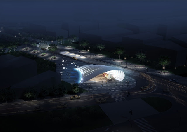 Photo of new metro line 1 station 20 entrance as seen at night from the air