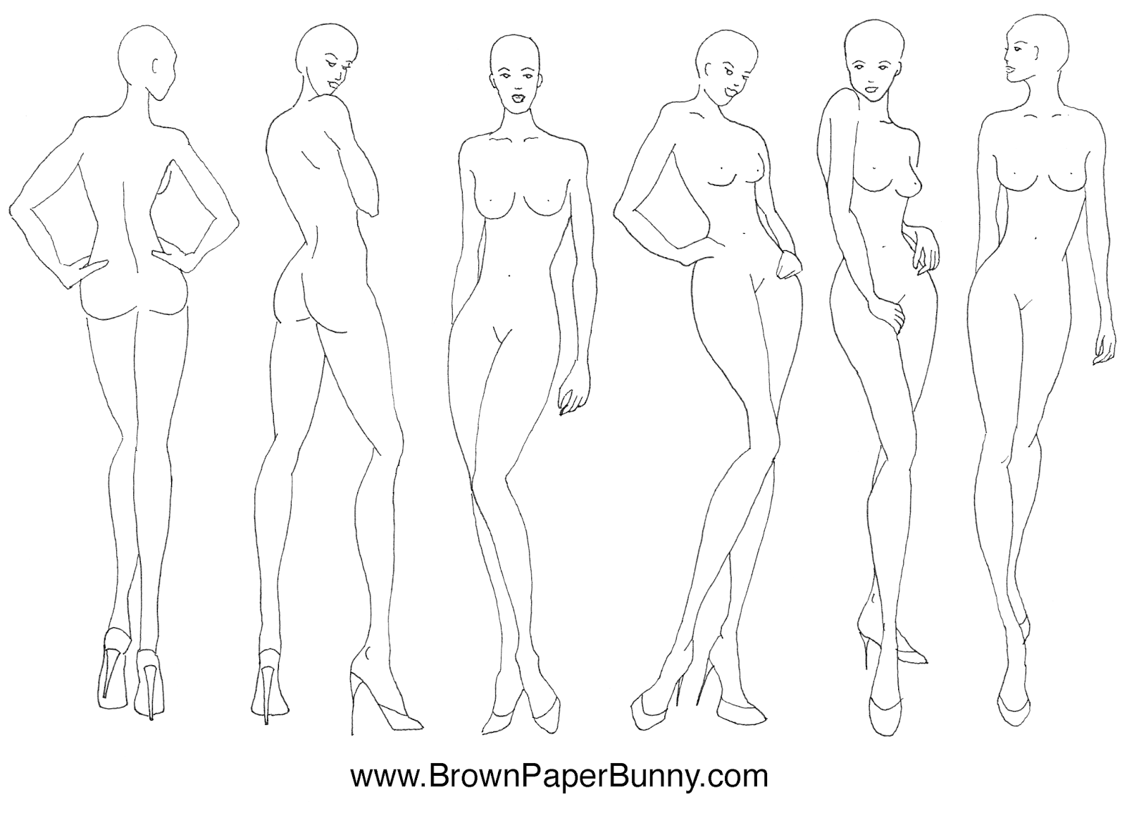 Fashion Illustration Templates | Fashion Illustration Croquis Brown Paper Bunny Studio
