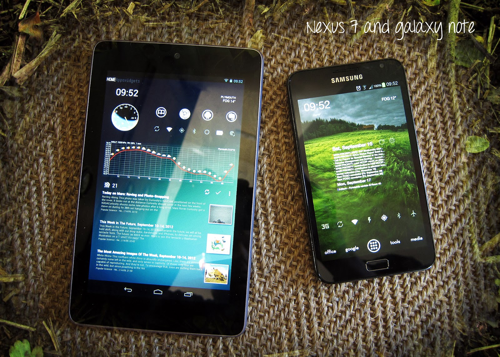 Small outdoor tablets: Nexus 7 and Galaxy note