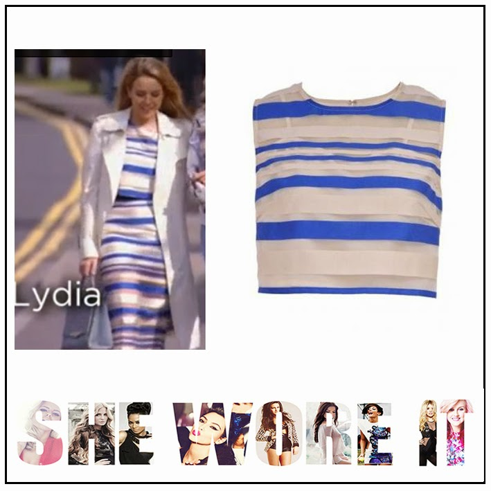Bella Sorella, Blue, Co-Ord, Contrasting Print, Cream, Crop Top, Lydia Rose Bright, Matching, Pencil Skirt, Spilt Back Detail, Striped, The Only Way Is Essex, TOWIE, Celebrity Fashion