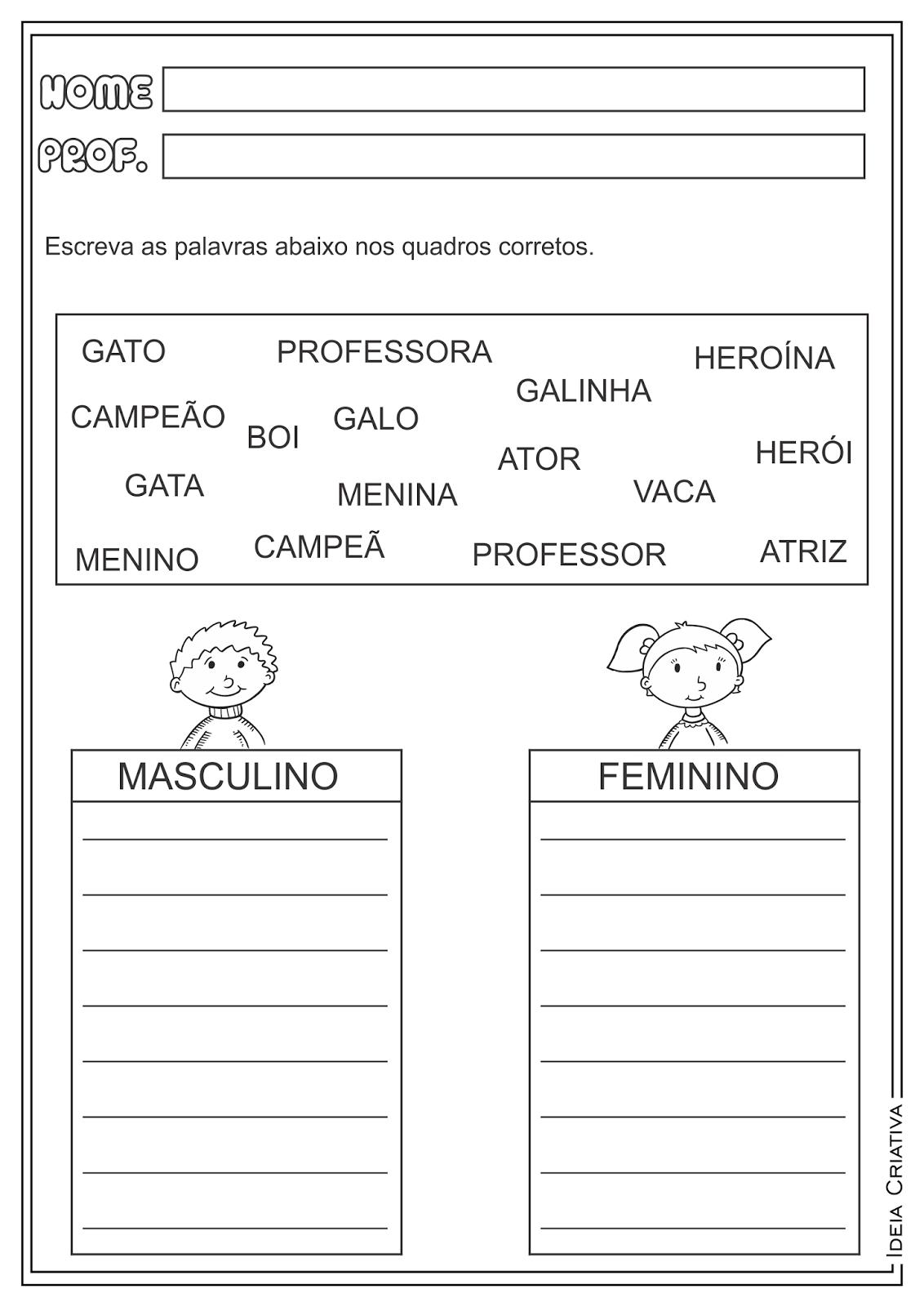 Atividades Masculino e Feminino Língua Portuguesa para Ensino Fundamental