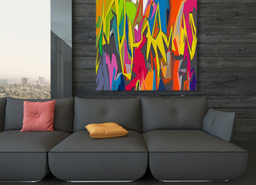 multi coloured, abstract, graffiti, urban, neon, large, wall art, modern, square, canvas art, canvas print,