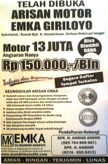 Arisan Emka Arisan Rp 150000 Bln Standar Motor Rp 13 Juta